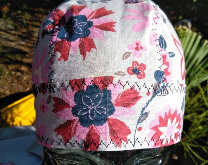 Pinks, navy and grey floral do rag