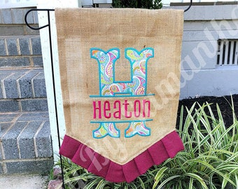 Burlap Pennant Ruffle Garden Flag - Personalized Garden Flag - Monogram Garden Flag - Embroidered & Appliqué - Mother's Day