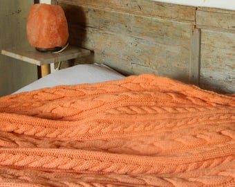 Chunky Cable Knit Blanket. Salmon Coral Blanket. Hand Made Afghan. Wool Chunky Throw. Ready to Ship. Housewarming Gift. Christmas Gift.
