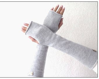 Long fingerless cashmere knit gloves for women Christmas gift ideas Black cashmere knitted arm warmers fingerless gloves for woman
