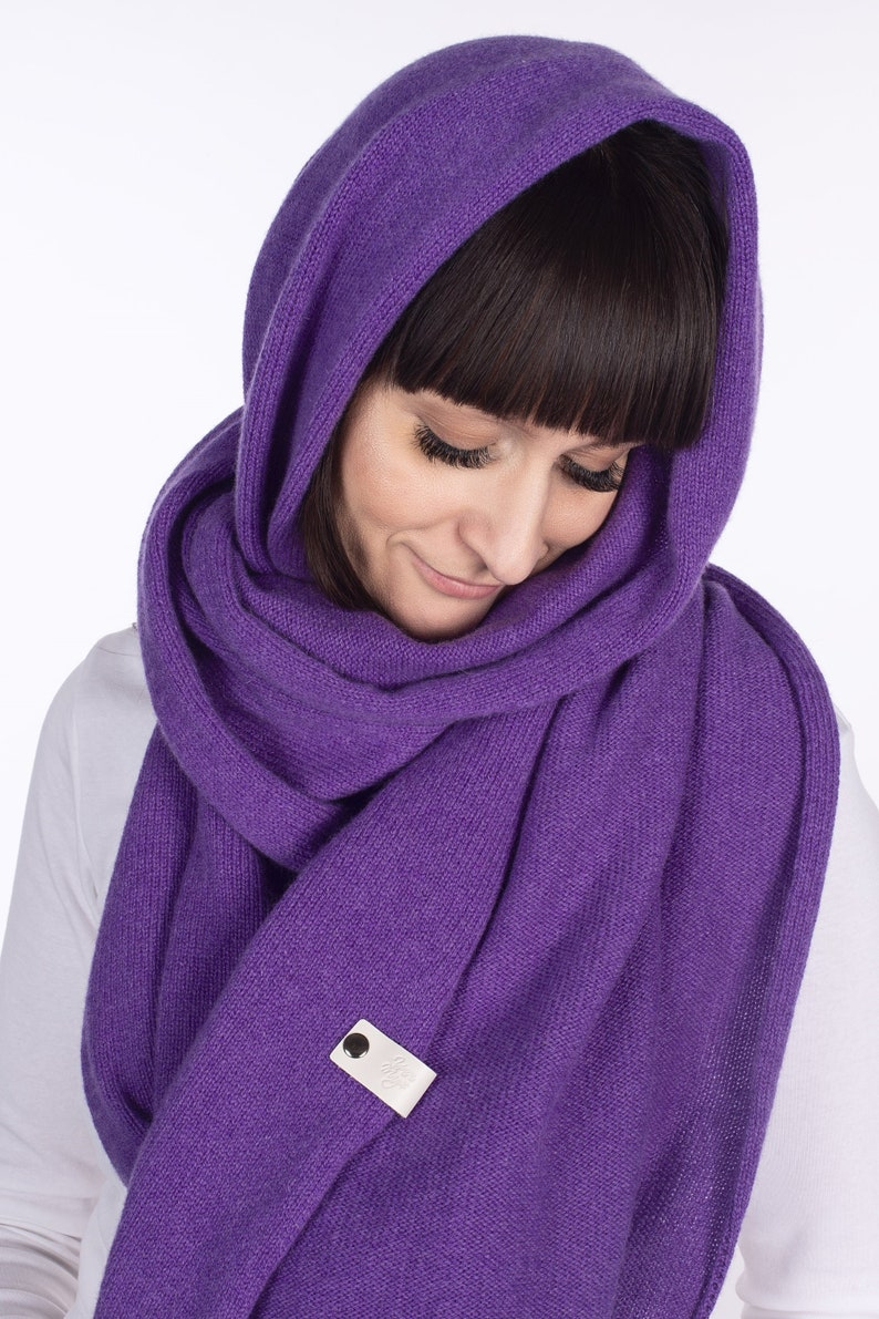 Extra Long wool wrap cashmere wool infinity scarf cape cashmere grey throw man damen schal Women/'s Cashmere Scarf in Bright Purple