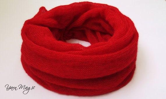 Rouge écharpe col col cache-cou Mohair tricoté pour les   Etsy d45a93382ce
