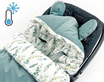 Velvet Impact Blanket Winter PADDED Sleeping Bag Eucalyptus for Infant Car Seat, All Year Round, Baby Blanket for Stroller Bed Cradle GOTS