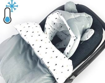 Velvet PADDED impact blanket SLEEPING BAG for infant car seat, all year round, baby blanket for stroller, bed, cradle, grey, GOTS, ÖkoTex