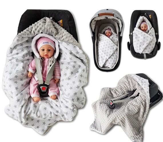 BABEES Babyschale MINKY Einschlagdecke Wendedecke Autositz Kinderwagen Decke FR