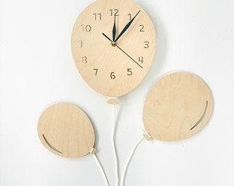 Baby Wall Clock BALLOON wood Babyclock handmade gray clouds