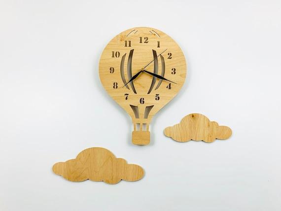 Kinderuhr Hei/ßluftballon f/ür Kinderzimmer BABEES Kinder Wanduhr Ballon mit Wolken Lautlos Uhrwerk Wanddeko Scandi Deko Junge Blau Uhr ohne Tickger/äusche