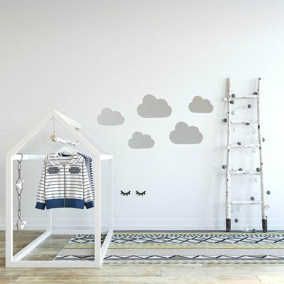 5 Er Set Wolken Aus Holz Mit 3d Effekt Als Kinderzimmer Deko 3d Wanddeko Bilder Kinderposter Wandtattoo Bild Babyzimmer Dekoration Grau