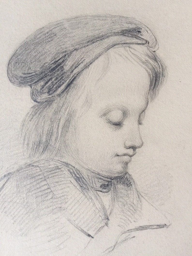 Antique original pencil drawing of a young boy graphite drawing signed 1800s