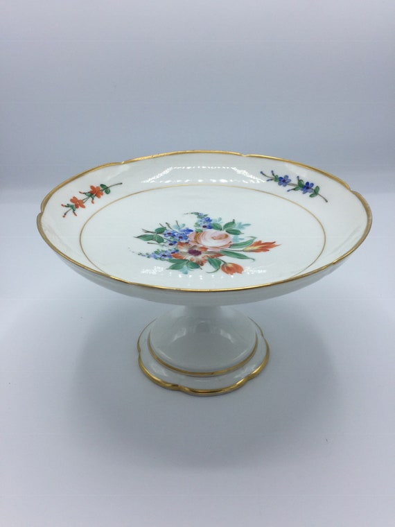 Vintage french transferware footed cake stand  compote bowl  fruit bowl