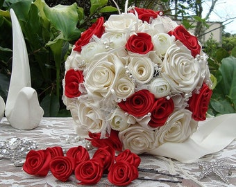 Ruby red rose bouquet, satin rose bouquet, ivory bouquet