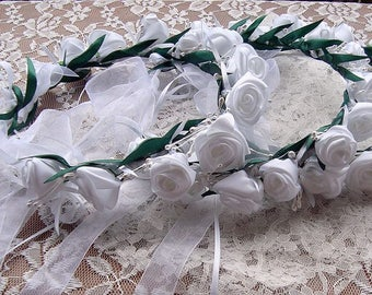 floral crown, white rose floral crown, flower crown