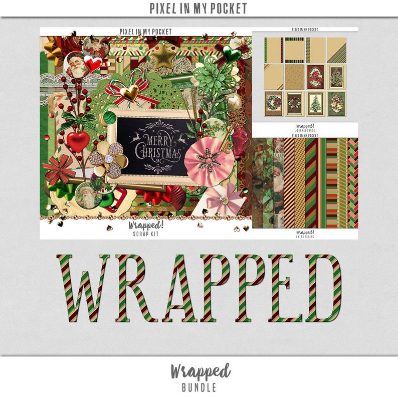 Wrapped  Vintage Christmas Candy Cane Inspired Digital image 0