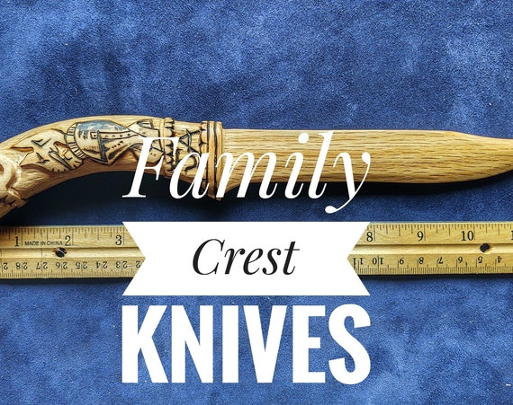 Family Crest Knives. Your Family Crest Carved on a Beautiful, Family Safe Wooden Knife! Personalize and Customize.