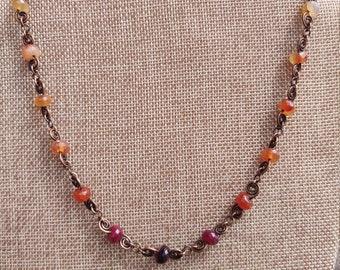 Pink hombre spiral link copper necklace