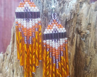 Orange Crush - Native American style long dangle earrings