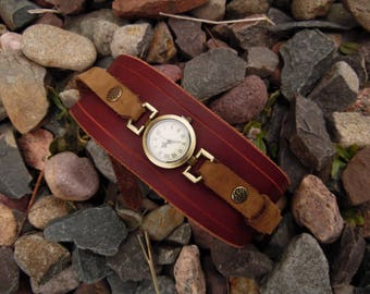 Large leather band wristwatch - handmade leather wristband, Steampunk watch. Custom leather work available.