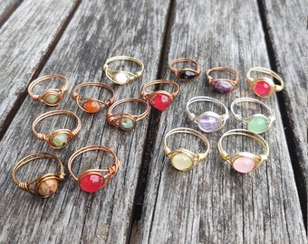Various wire wrapped rings - stackable