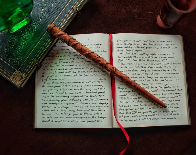 Featured listing image: Granger Cosplay Wand, 13 inches, Mahogany and Dragon Heartstring.