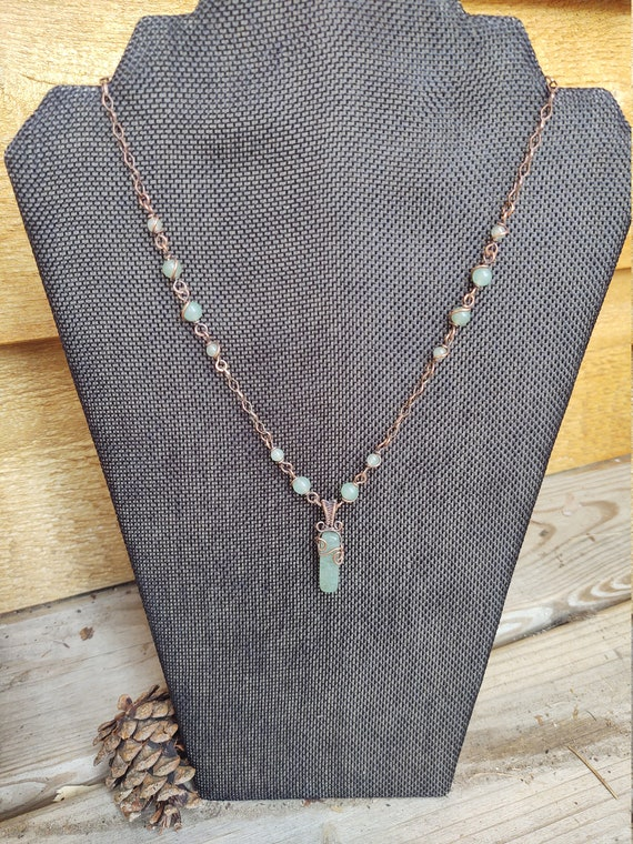 Aventurine necklace - copper wire and aventurine wire wrapped necklace