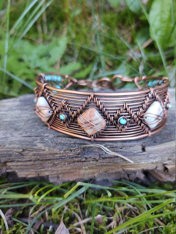Aqua Terra and Copper woven wire cuff bracelet - handmade