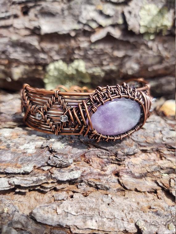 Woven Wire Bracelet with amethyst bezel - woven copper bracelet, handmade jewelry, wire wrapped jewelry