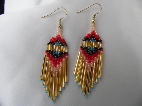 Badlands - Native American style beaded earrings medium/long dangle