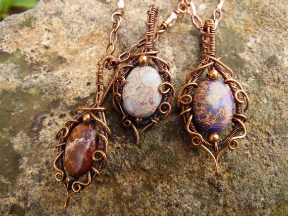 Imperial jasper wire wrapped necklace
