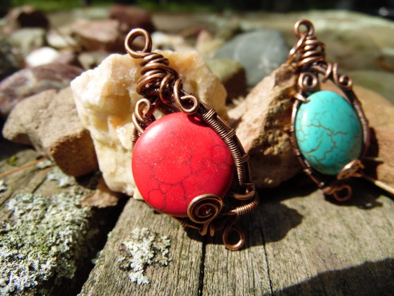 Copper wire wrapped howelite pendants - handmade wire wrapped jewelry