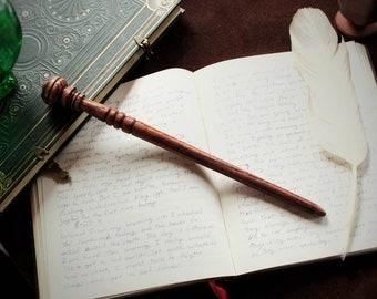 "Red Oak and Phoenix Feather Core Wand 12 1/8"" Long, Rigid. Custom Wands by Wan D'e Makre Fine Wands Since 1620"