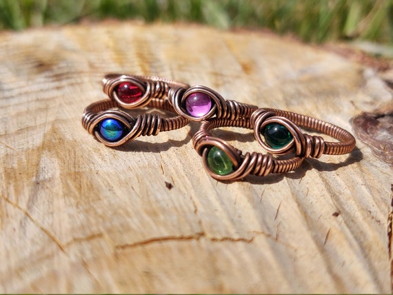 Copper Wire wrapped rings - simple, elegant, vintage glass cabochons