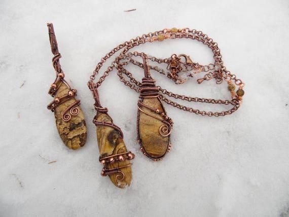 Picture Jasper wire wrapped pendant - handmade copper jewelry