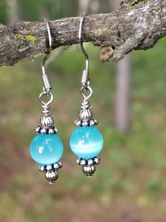 Water World - blue glass and silver short/medium length dangle earrings, silver jewelry, handmade jewelry, custom jewelry