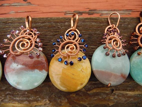 Amazonite Sunburst pendants - handmade wire-wrapped amazonite necklace pendants