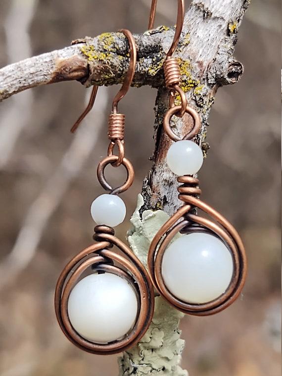 Copper wrapped drop earrings