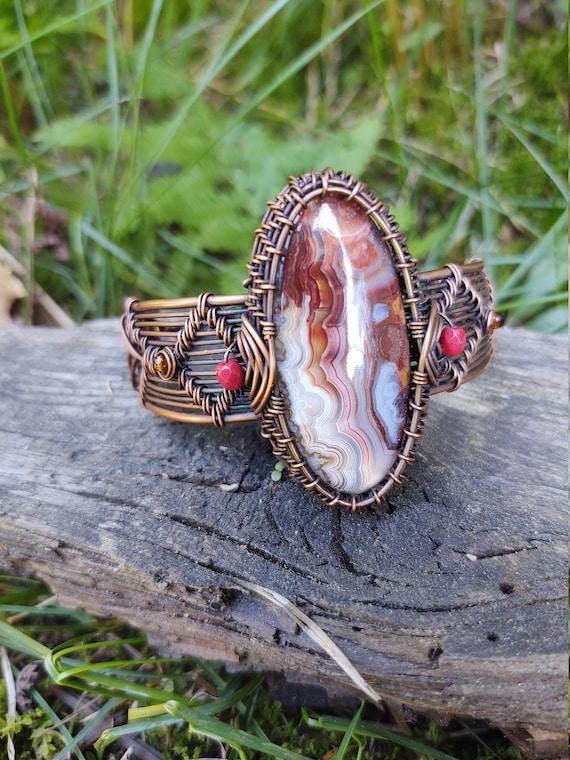 Crazy Agate woven wire bracelet - handmade copper bracelet