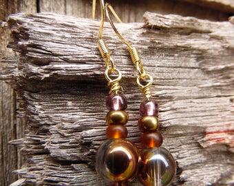 Copper Tone - copper, brown sea glass, purple glass beaded earrings