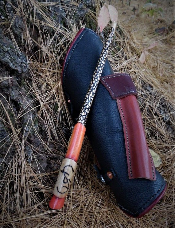 Firemaster wand and vambrace. Wand scabbard. Real leather vambrace. WICCA, Anime, Harry Potter. Wand and scabbard combo.