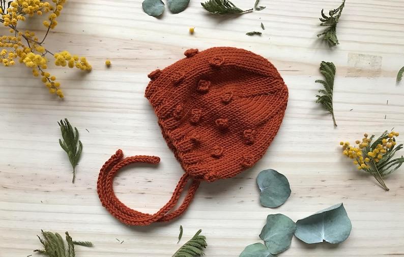 Popcorn Baby Hat Rust cotton/merinos  image 0