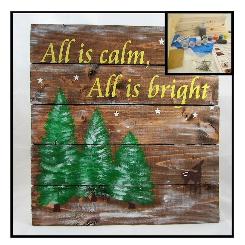 Christmas Craft Project Diy Christmas Board Sign Craft Kit Etsy