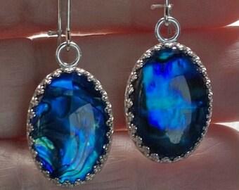New Sterling Silver Earrings Long Hook Blue Oval Paua Shell Hand Set Bezel