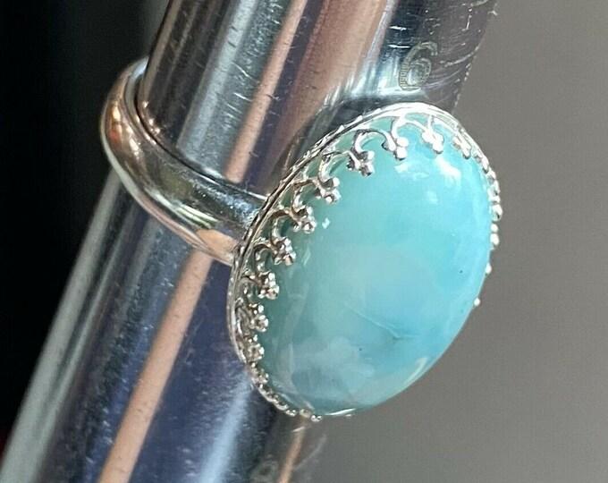 Sterling Silver Hand Set Ring Bezel 18x13mm Oval Aqua Pretty Larimar size 7