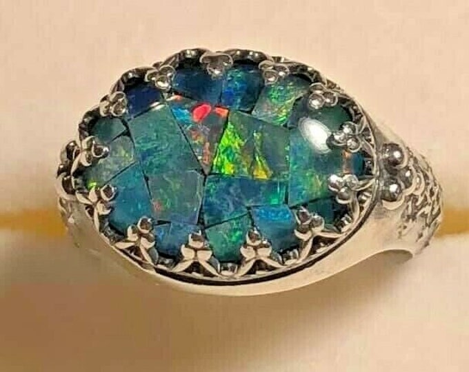 Sterling Silver Mosaic Opal Blue Teal Green Pink East West Style Ring Size 7 Box