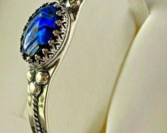 Sterling Silver .925 Bezel Cuff Bracelet Oval Paua Shell Nice Blue w/ Black