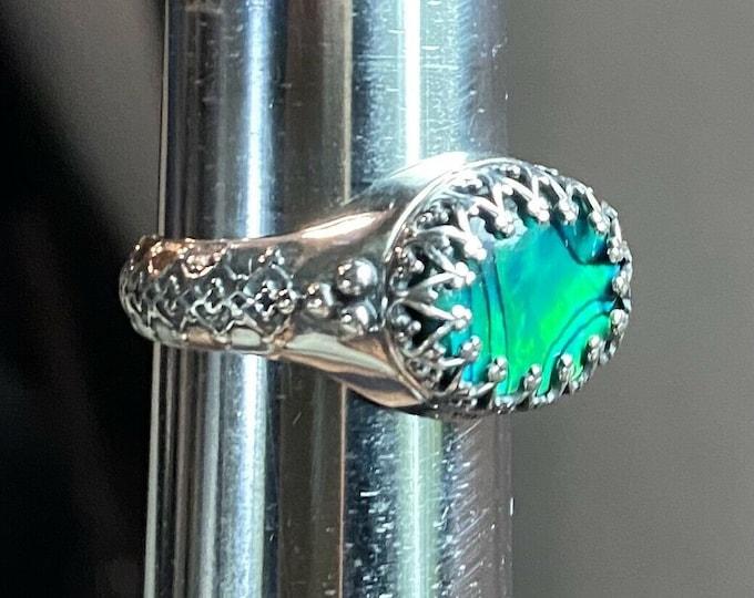 Sterling Silver Green Black Paua Shell East West Style Bezel Ring Size 7 w Box