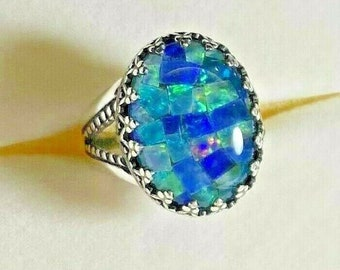 Sterling Silver Bezel Mosaic Opal Blue Teal Green Pink Ring Split Shank size 7