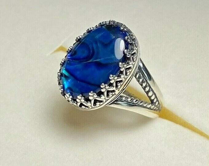 Sterling Silver Bezel Hand Set Blue w Black Paua Shell Ring Split Shank size 7