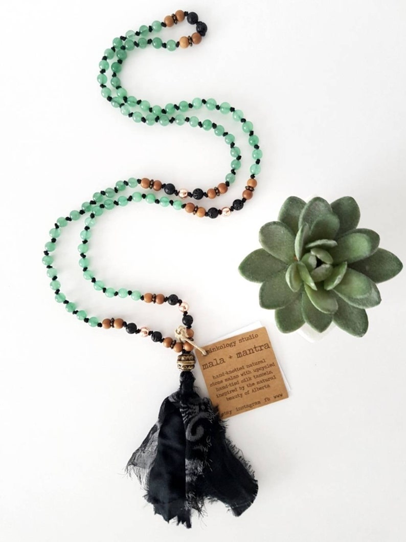 Boho Yoga 108 Bead Mala and Mantra Green Aventurine Silk image 0