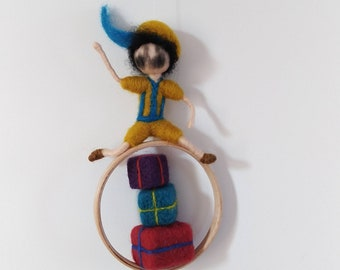 Pietjes hanger Roetveegpietjes needle felt dolls to order for the yeartable/season table with Saint Nicholas