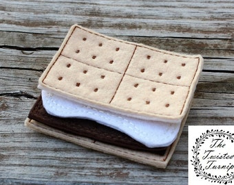 Felt Food - Machine Embroidery Designs- ITH Projects - Smores - Chocolate Marshmallow Graham Crackers - Camping- 5x7 Hoop - Play Food